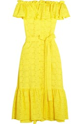 Lisa Marie Fernandez Mira Off The Shoulder Broderie Anglaise Cotton Midi Dress Yellow