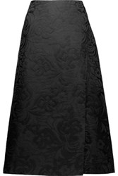 Theory Anneal Wrap Effect Jacquard Midi Skirt Black