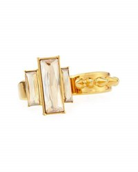 Alexander Mcqueen Crystal Stud Two Finger Ring Gold