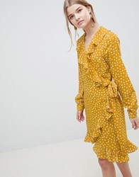 Selected Chanie Ruffle Polka Dot Wrap Dress Yellow