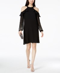 Msk Embellished Sleeve Cold Shoulder Shift Dress Black Silver