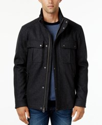 Cole Haan Faux Leather Trim Coat With Removable Hood Charcoal