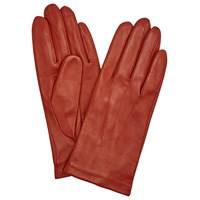 John Lewis Fleece Lined Leather Gloves Orange