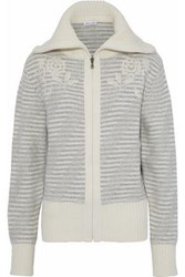 Tomas Maier Embroidered Intarsia Wool Jacket Light Gray