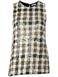 P.A.R.O.S.H. Sequined Checkered Top Black