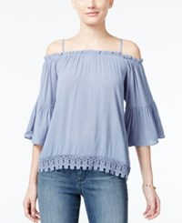 Almost Famous Crave Fame Juniors' Lace Trim Off The Shoulder Top Chambray