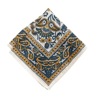 J.Crew Linen Pocket Square In Batik Floral Slate Blue