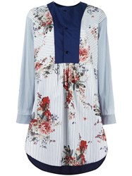 Antonio Marras Contrast Bib Shirt Dress Blue