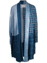 Greg Lauren Plaid Patchwork Coat Blue