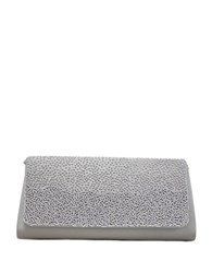La Regale Satin Beaded Flap Clutch Silver