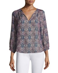 Joie Odelette Split Neck Printed Silk Top Multipattern. White Pattern