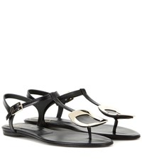 Roger Vivier Thong Chips Embellished Leather Sandals Black