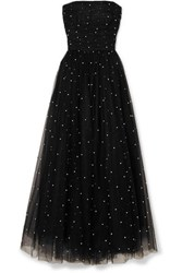 Monique Lhuillier Faux Pearl Embellished Tulle Gown Black
