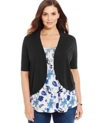 Charter Club Plus Size Elbow Sleeve Cropped Bolero Cardigan Deep Black