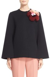 Women's Fendi Double Face Wool Cape With Genuine Fox And Mink Fur Floral Applique