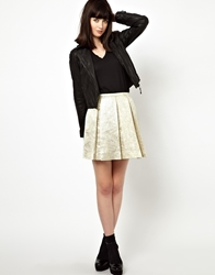 Boutique By Jaeger Skirt In Pleated Jacquard Gold