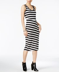 Armani Exchange Sheath Dress Black And White Stripe