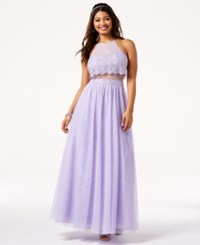 Teeze Me Juniors' Glitter Mesh Illusion Gown A Macy's Exclusive Style Lilac Silver