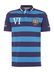 Howick Men's Warwick Stripe Short Sleeve Rugger Powder Blue