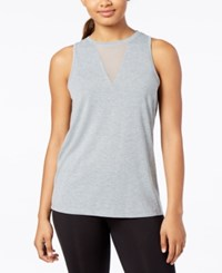 Material Girl Active Juniors' Mesh Inset Tank Top Created For Macy's Heather Platinum