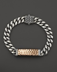 John Hardy Men's Sterling Silver And Bronze Palu Medium Gourmette Chain Id Bracelet Silver Bronze