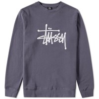 Stussy Chain Stitch Applique Crew Sweat Blue