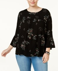 Eyeshadow Trendy Plus Size Printed Illusion Blouse Black Shimmer