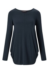 James Lakeland Drape Jersey Top Navy