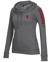 Adidas Women's Indiana Hoosiers Funnel Neck Pullover Hoodie Gray