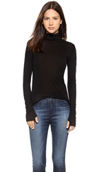 Enza Costa Tissue Jersey Turtleneck Black