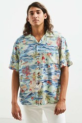 Urban Outfitters Uo Andy Rayon Camp Collar Shirt Turquoise