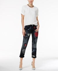 True Religion Audrey Ripped Embroidered Slim Boyfriend Jeans Floral Destructed