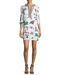 Andrew Gn 3 4 Sleeve Butterfly Print Shift Dress White
