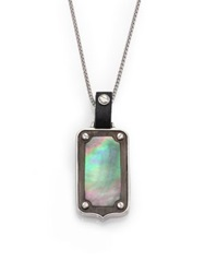 Stephen Webster Plated Sterling Silver And Mother Of Pearl Dog Tag Pendant Silver Multi