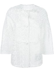 Ermanno Scervino Collarless Textured Jacket White