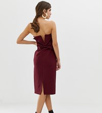 River Island Pencil Dress With Bow Back Detail In Purple