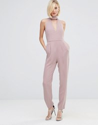 Lavish Alice Keyhole High Neck Deep Plunge Jumpsuit Mauve Purple