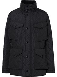 Burberry Packaway Hood Quilted Thermoregulated Field Jacket Black