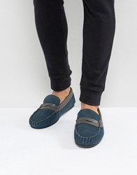 Dunlop Loafer Slippers In Navy Suede