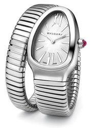 Bulgari Serpenti Stainless Steel Tubogas Bracelet Watch Silver