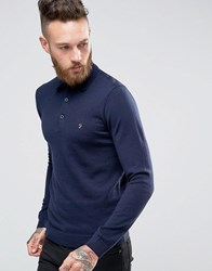 Farah Knitted Polo Shirt In Merino Wool Slim Fit Navy Yale Blue