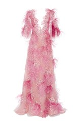 Marchesa Feather Embroidered Gown Pink