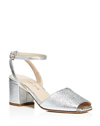 Charles David Cube Metallic Mid Block Heel Sandals Silver