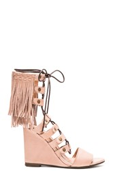 Free People Solstice Fringe Wedge Blush