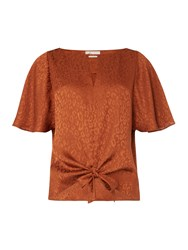 Linea Mel Jacquard Top Brown