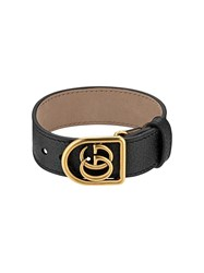Gucci Bracelet In Leather With Double G Black