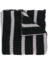 Faith Connexion Striped Scarf Unisex Polyamide Mohair Merino Black