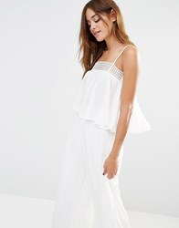 Missguided Crochet Trim Swing Cami Top White