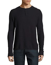 Highline Collective Solid Long Sleeve Henley Tee Navy