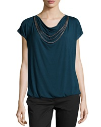 Laundry By Shelli Segal Short Sleeve Jersey Knit Necklace Tee Deep Emerald
